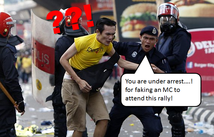 bersih rally protester arrest police Image from forum.ipoh.com.my.