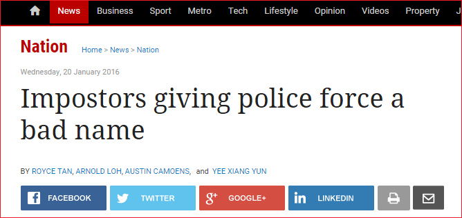 impostors giving police a bad name Screengrab of article from The Star