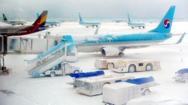 jeju island airport close snow storm blizzard. Image from BBC