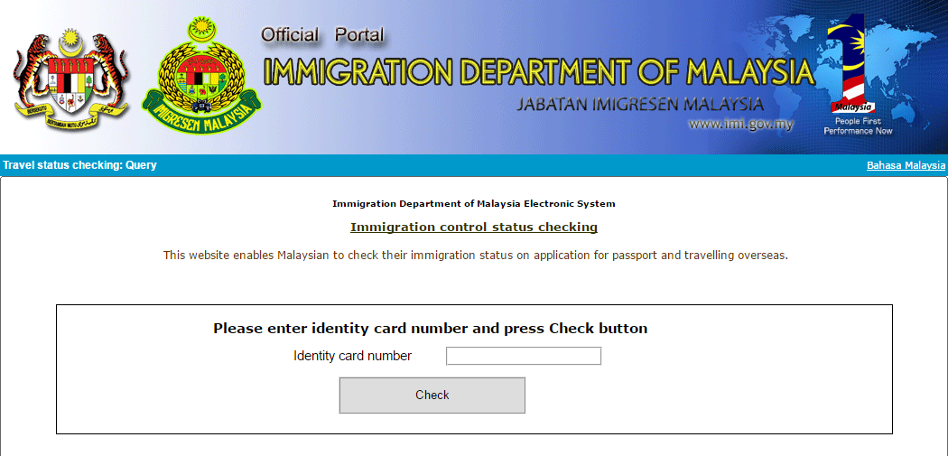 immigration department website check travel status