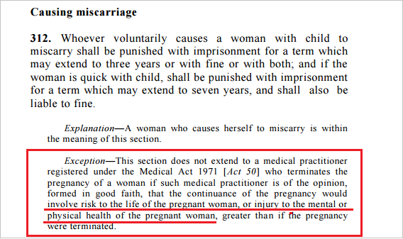 penal code section 312 miscarriage abortion exception