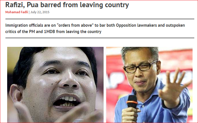 rafizi tony pua barred from leaving country Screenshot from Free Malaysia Today