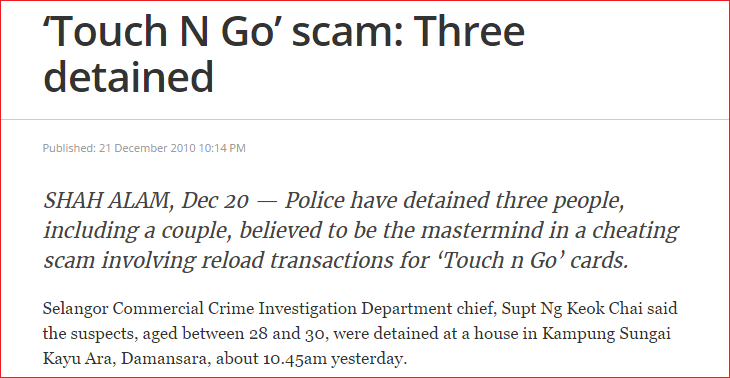 Screenshot of The Malaysian Insider article touch n go scam fake card