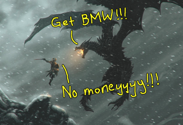 fight materialistic demon BMW Image from steamcommunity.com.