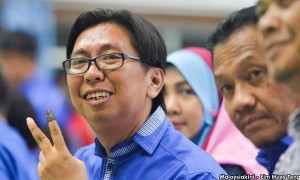 """""""Yo, just wanna say much love to mah Sungai Besar homies for votin' for ya boy. Peace Out!"""" Image from Malaysiakini"""