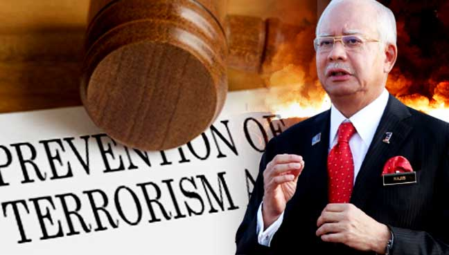 najib pota prevention of terrorism act. Image from Free Malaysia Today