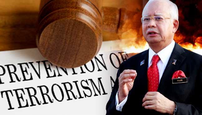 najib pota prevention of terrorism act. Image from Free Malaysia Today