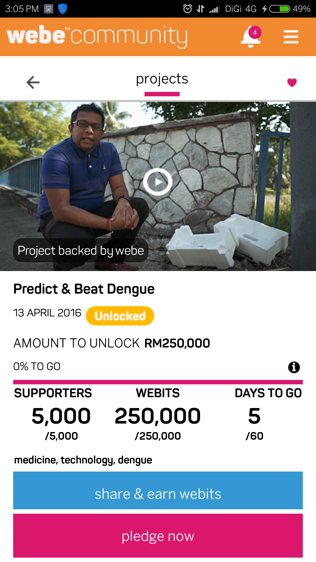 webe community dengue app