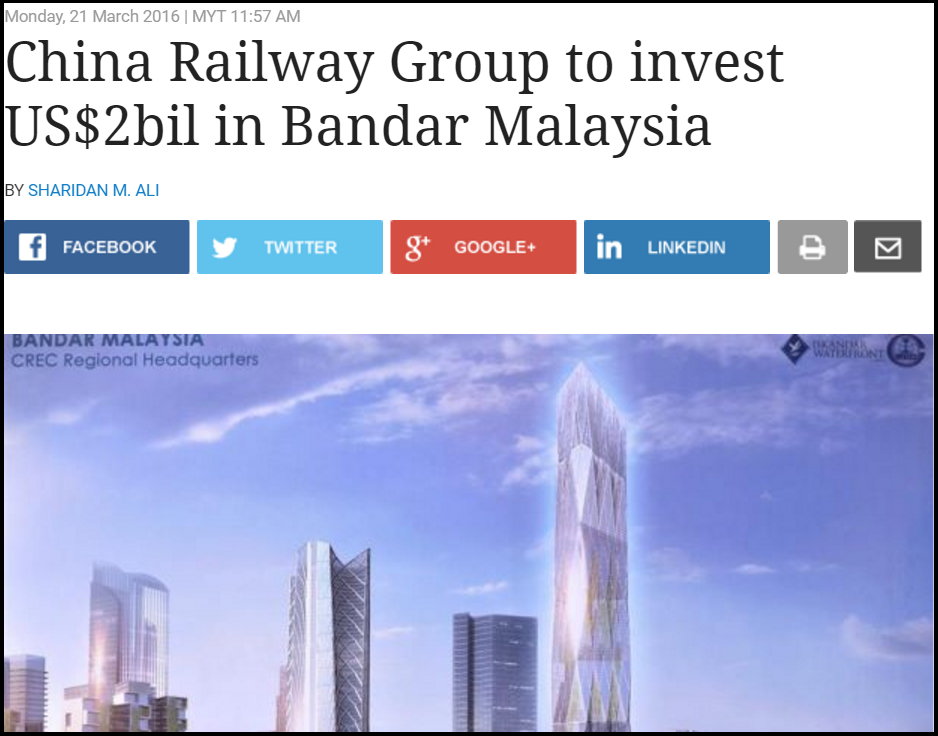 China Railway Group to invest US 2bil in Bandar Malaysia Business News The Star Online