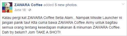 Zawara Coffe Facebook post