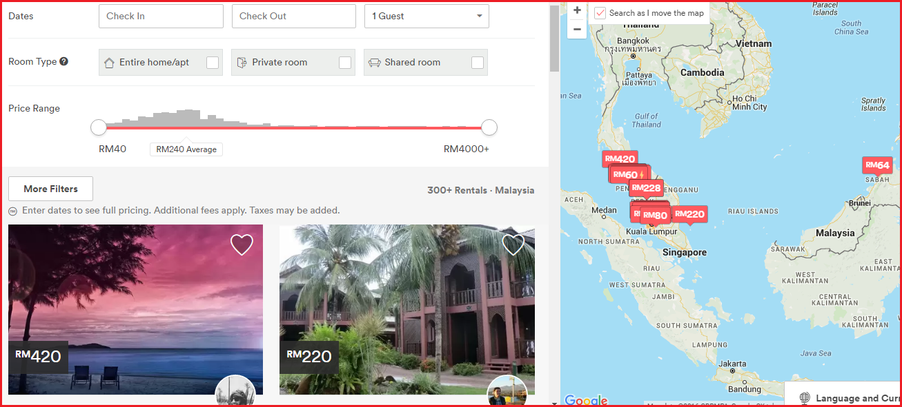 airbnb page malaysia homes search