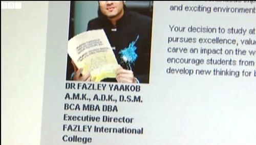 fazley yaakob fake degree website. Image from dcscience.net.