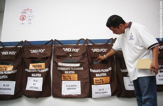 postal vote malaysia special bag overseas. Image from newmandala.org.