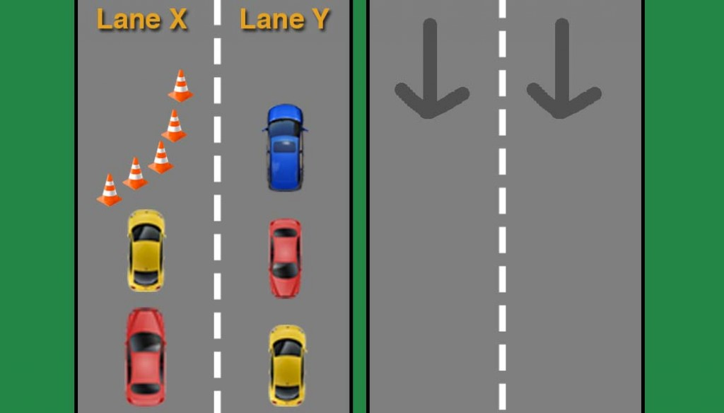 What to do if you're in Lane Y? Let cars from Lane X slide in alternately.