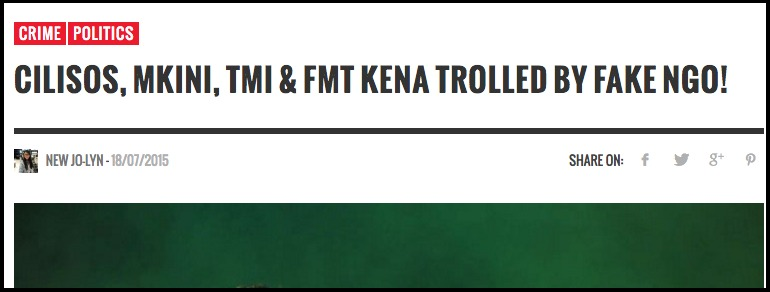 CILISOS Mkini TMI FMT kena trolled by fake NGO CILISOS Current Issues Tambah Pedas