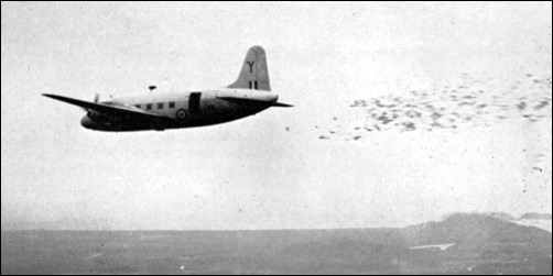 A Royal Air Force Valetta releasing flyers from 4000 feet in the air. Image from foto-antik.blogspot