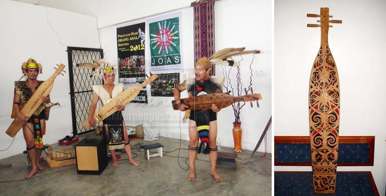 Men playing the sape (left) and a sape (right). Photo from theborneopost.com and www.oocities.org