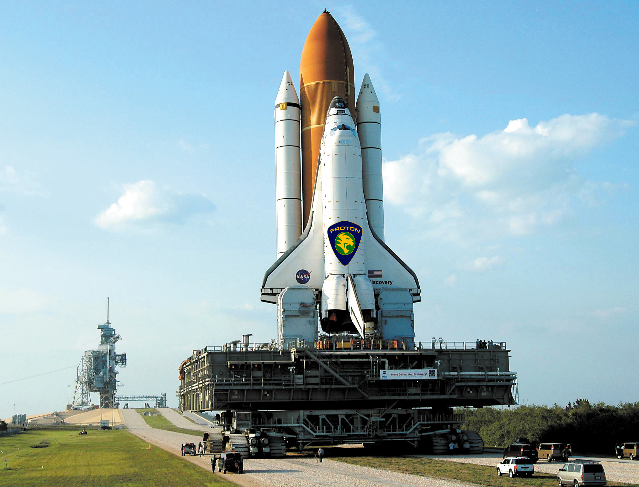 Space Shuttle Discovery approaches the ramp on its rollout to Launch Pad 39B at the Kennedy Space Center Friday. The 4.2-mile journey from the Vehicle Assembly Building to the pad takes approximately 8 hours. Discovery is scheduled to launch July 1.