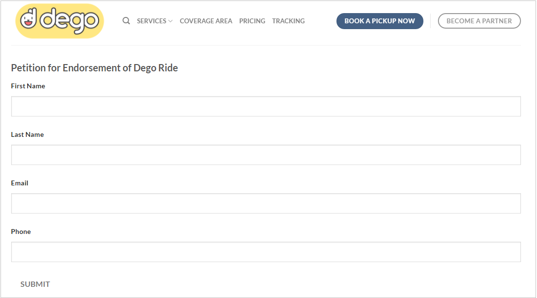 dego ride petition endorsement