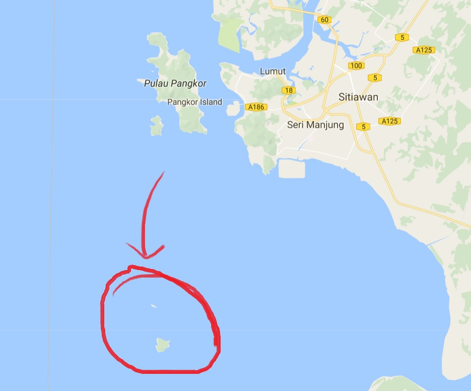 It's that little patch of land in the middle of the sea. Source