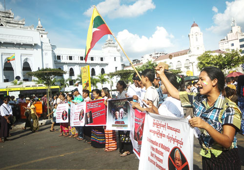 myanmar times protest najib rohingya stance election vote