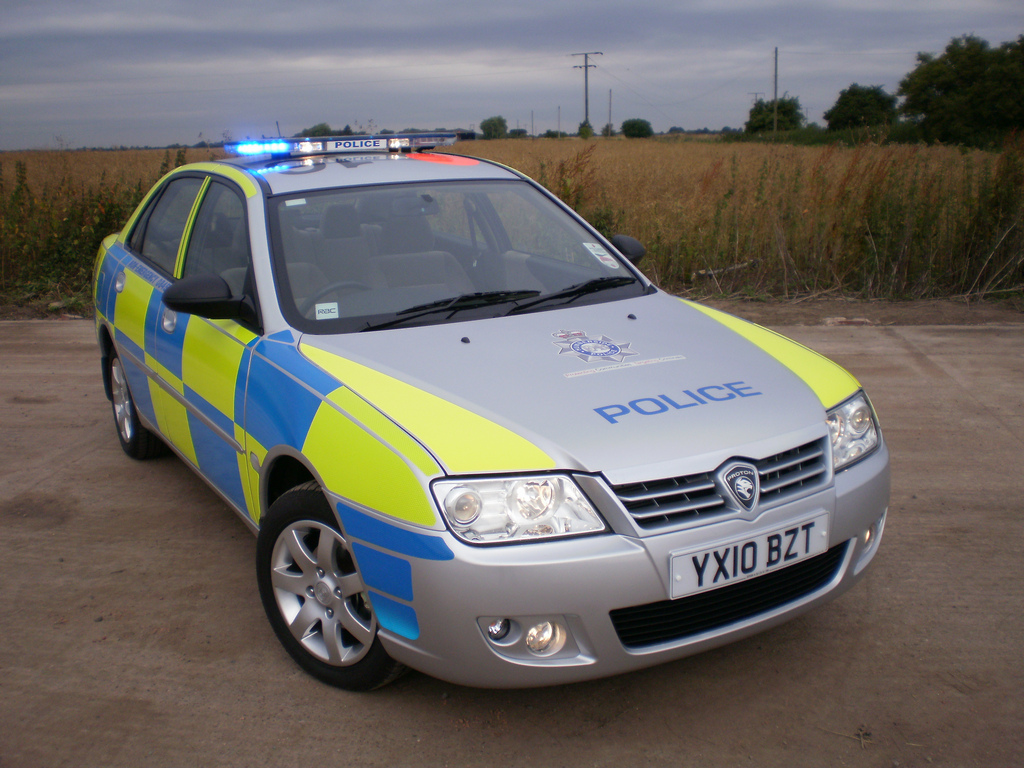 A UK police car in its natural habitat. Source