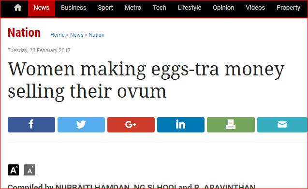 the star women selling ovum eggs report