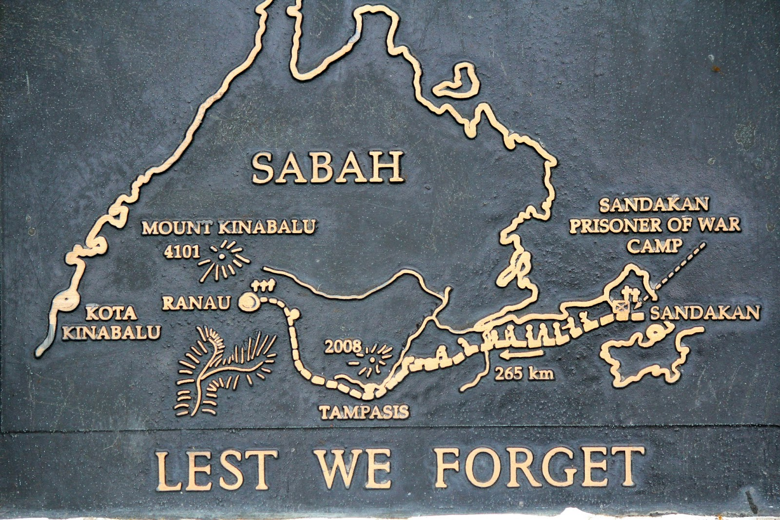 A map of the route, found on the memorial obelisk. Source