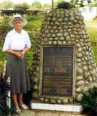 Nancy Patterson, Cleary's sister standing beside her brother's memorial in 1999. Source