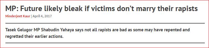 shabudin yahaya remark rape victim marry