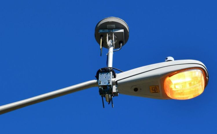 A shotspotter on a lamp. Image from Patchogue