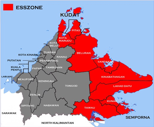 The ESSZONE districts highlighted in red. Source