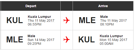 Our flight details. Look ma, no stops!