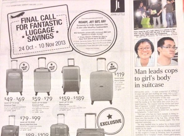 Image from Marketing Interactive of a badly placed luggage ad