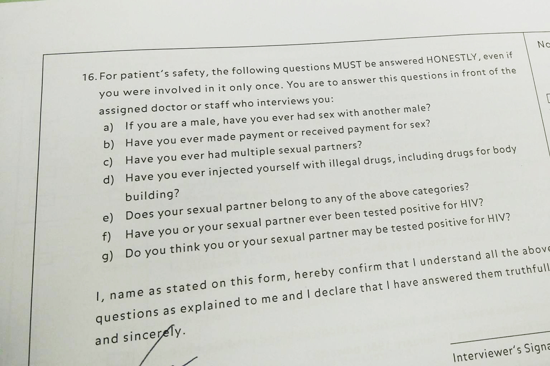 A blood donation form.