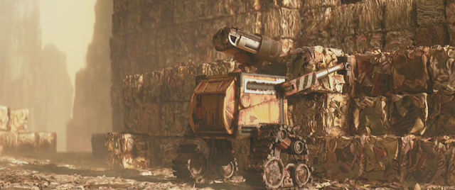 WALL E cleaning rubbish