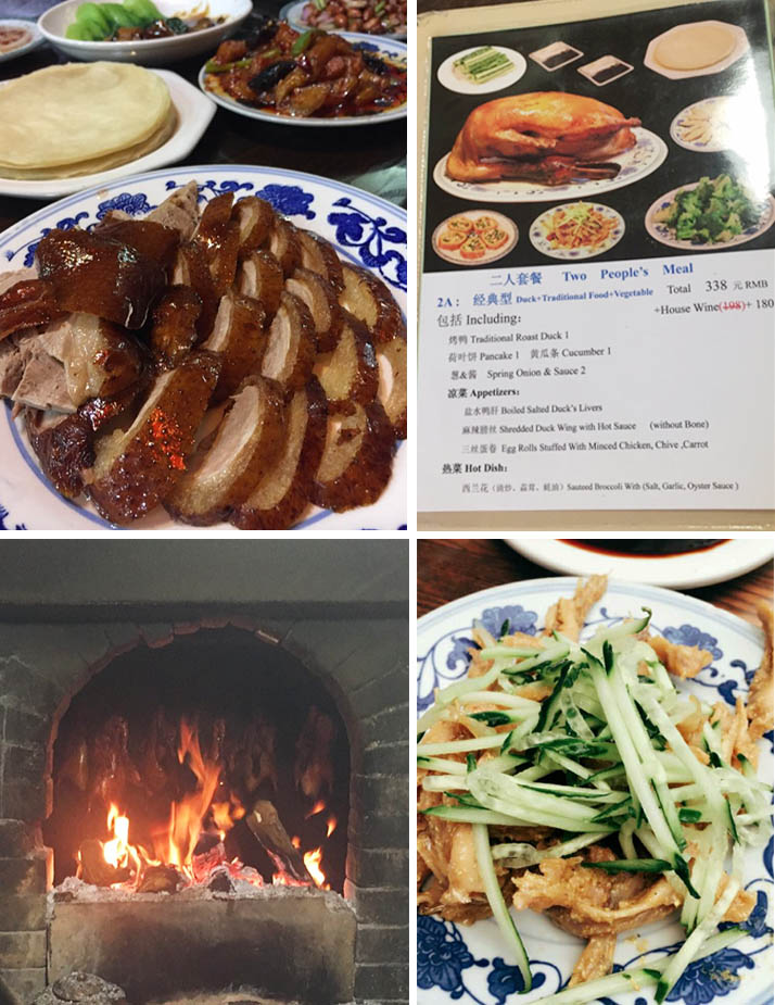 Famous Peking duck (top left), set menu price (top right), ducks in a charcoal oven (bottom left). Photos from tripadvisor. Mustard chicken feet (bottom right), photo courtesy of Dannie Then.