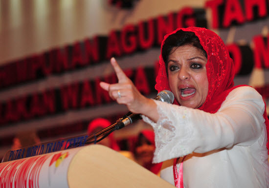 Shahrizat, giving a speech. Source