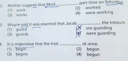 Sample of a Primary 6 PSLE question. Correct answer is 1,1,1
