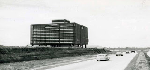 The EPF building beside what will become the Federal Highway, 1962. Source