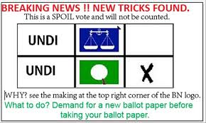 One of the pictures circulating WhatsApp during GE13 about spoilt votes. We have not verified if this qualifies as spoilt