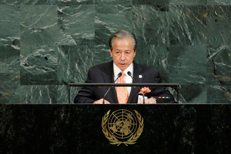 Malaysia's Foreign Minister Anifah Aman addresses the 72nd United Nations General Assembly at U.N. headquarters in New York, U.S., September 22, 2017. REUTERS/Eduardo Munoz