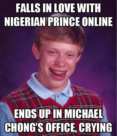 bad luck brian love scam michael chong