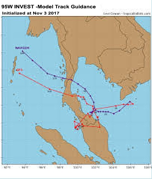 The prediction on Nov 3. Notice how GFS predicted that it would walk all over northern Malaysia, with a loop around Penang. Img from MalaysiaKini.