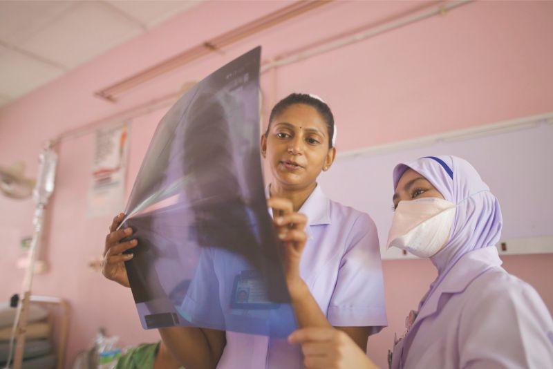 nurses check x ray tuberculosis