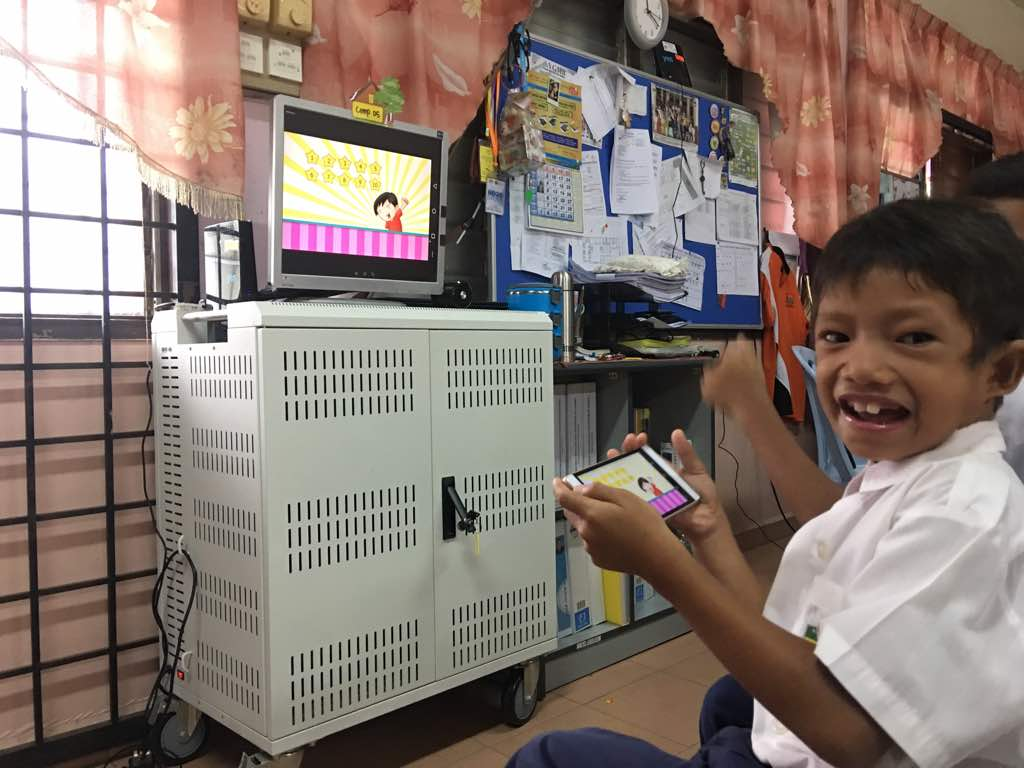 A student doing some interactive exercises.