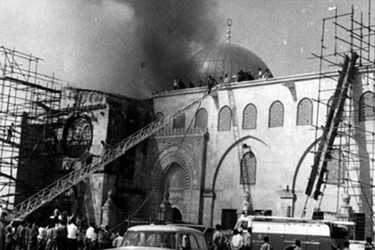 The burning al-Aqsa mosque in 1969. Img from MiddleEastMonitor