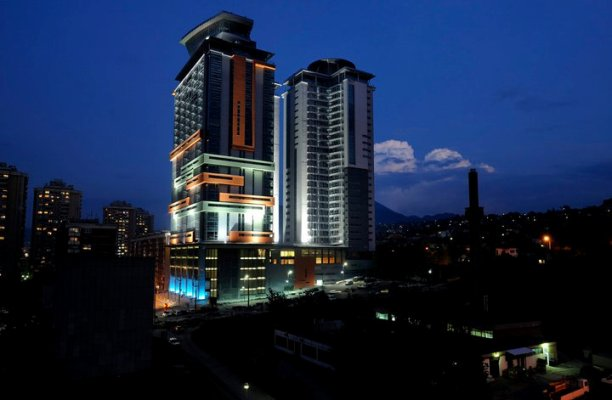 The Bosmal Business Center, in Sarajevo at night. Img from myhaus-24.com.