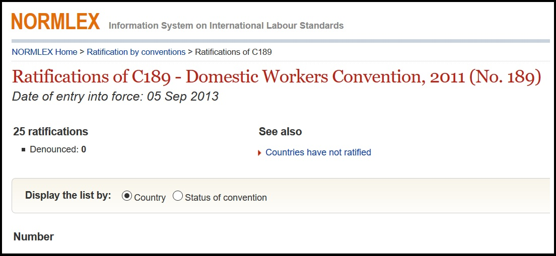 To be fair, it's a fairly new thing, and only 25 countries have ratified it so far. Click picture to see them. Screengrabbed from ILO.