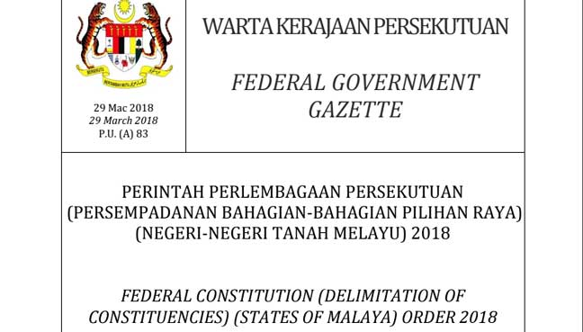 Gazette redelineation GE14 2018